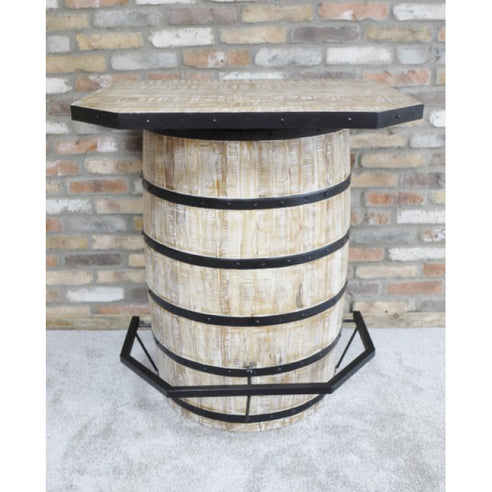 Retro Industrial 50's Style Notting Hill Wood Barrel Drinks Bar (90 x 75 x 102cm)