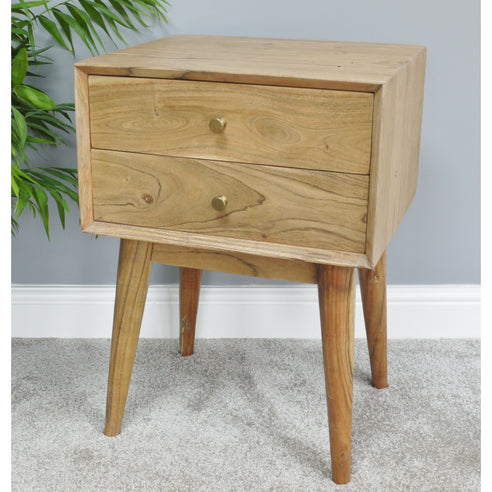 Hoxton Living Acacia Wood Bedside Table in Natural Finish (45 x 38 x 63cm)
