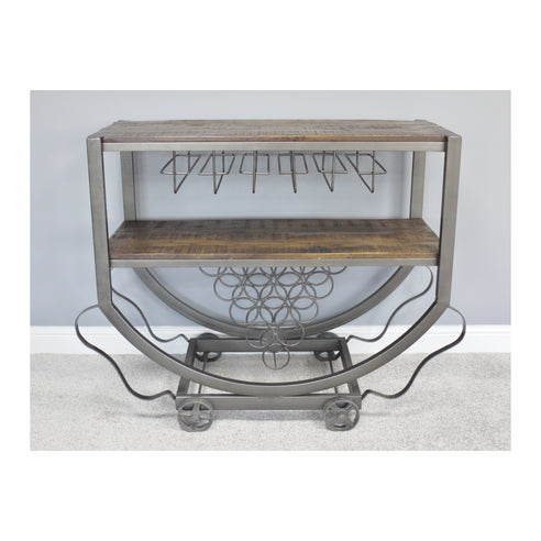 Hoxton Industrial Mango Wood and Steel Drinks Trolley (108 x 48 x 94cm)
