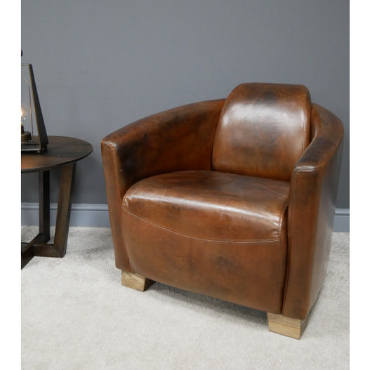 Vintage Leather Art Deco Armchair ( 75 x 80 x 70 )
