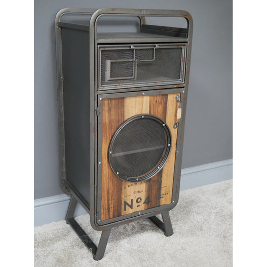 Retro Industrial Metal and Wood Tall Side Table (37 x 32 x 87cm)
