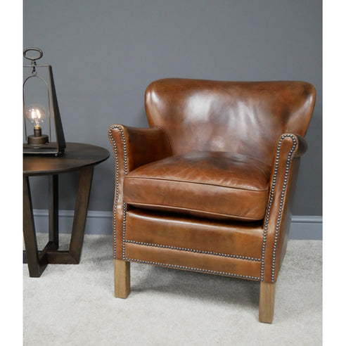 Vintage Leather Cosy Armchair ( 67 x 72 x 74 )