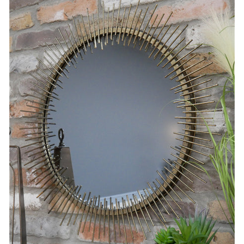 Antique Gold Art Deco Metal Wall Mirror (70 x 3 x 70cm)