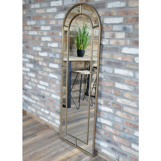 Antique Gold Art Deco Arched Wall / Leaner Mirror (63 x 3 x 180cm)
