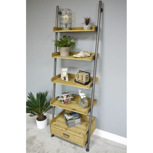 Retro Industrial Metal and Wood Ladder Style Shelves Unit (67 x 200 x 43cm) - CLEARANCE
