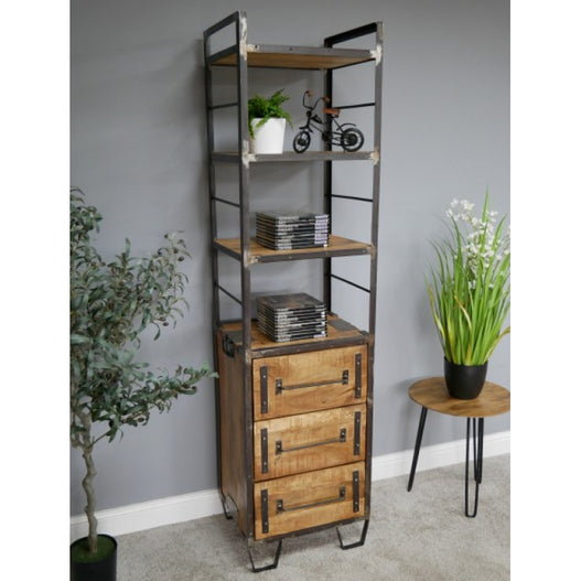 Hoxton Industrial Mango Wood and Metal Display Unit (51 x 44 x 198cm)