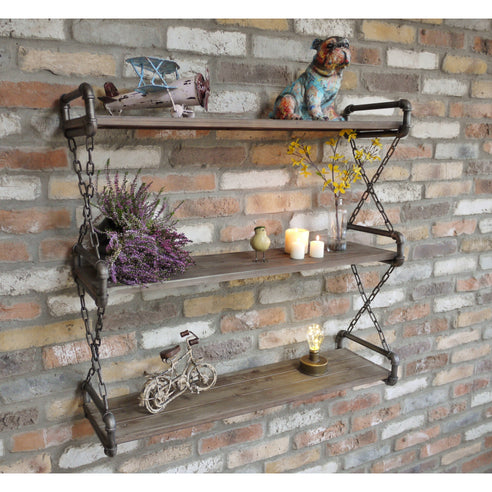 Retro Industrial Metal Wall Shelf Unit (91 x 28 x 85cm)