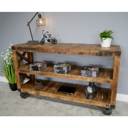 Hoxton Industrial Shelved Unit with Wheels (153 x 42cm x 89cm)