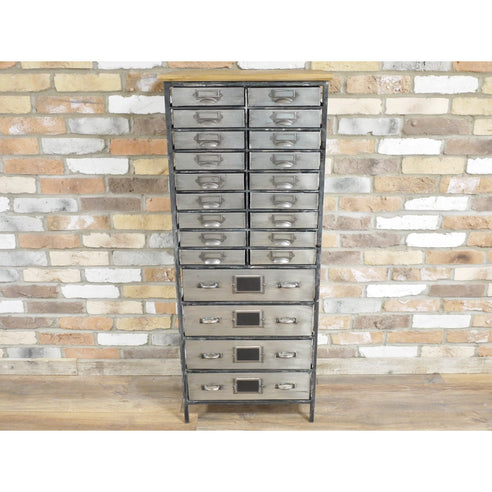 Hoxton Metal Industrial Office Style 22 Drawer Cabinet (50 x 34 x 129cm)