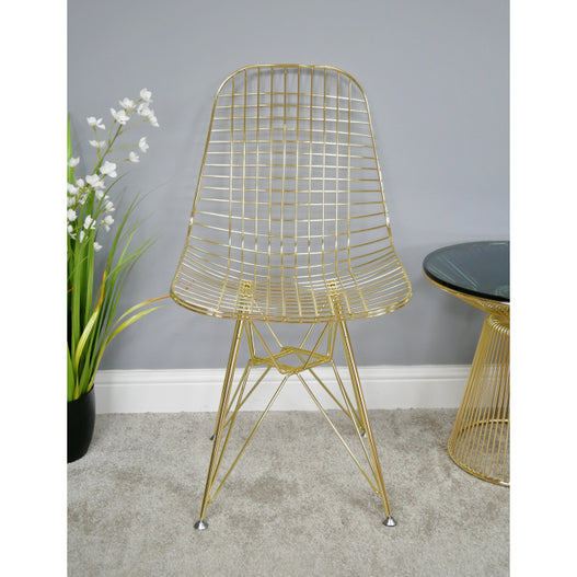 Electra Retro Steel Dining Chair Set of 4 - Gold (46 x 51 x 87cm)