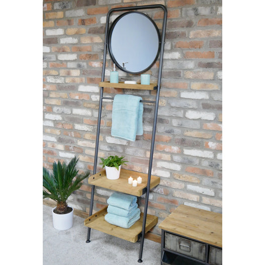 Retro Industrial Metal and Wood Ladder Style Mirror Shelf Unit (56 x 42 x 200cm)