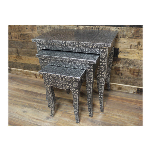 Blackened Silver Embossed Nest Side Tables (Set of 3)