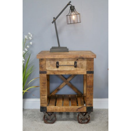 Hoxton Industrial Shelved Wheeled Bedside Table (53 x 45cm x 66cm)