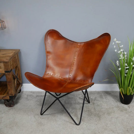 Hoxton Industrial Tan Leather Butterfly Chair