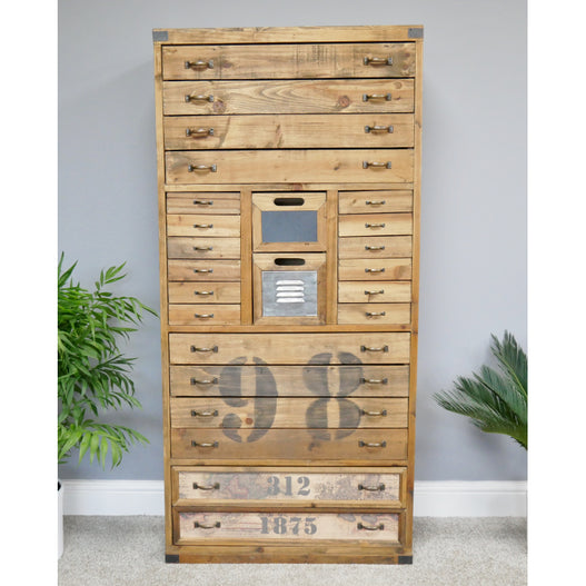 Brixton Metal and Wood Industrial Storage Cabinet (70 x 35 x 148cm)