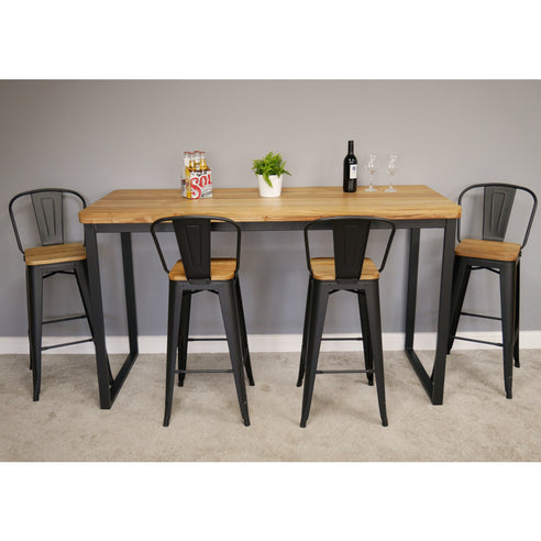 Hoxton Industrial Elm Wood and Steel Bar Table and 4 Stool Set (180 x 70 x 105cm)