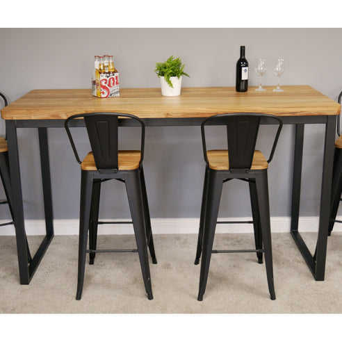 Hoxton Industrial Elm Wood and Steel Bar Table and 2 Stool Set (180 x 70 x 105cm)