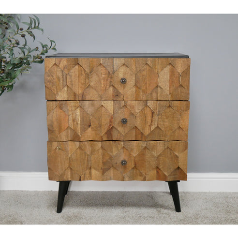 Harlequin Industrial Iron and Mango Wood Chest of Drawers (70 x 39 x 85cm)