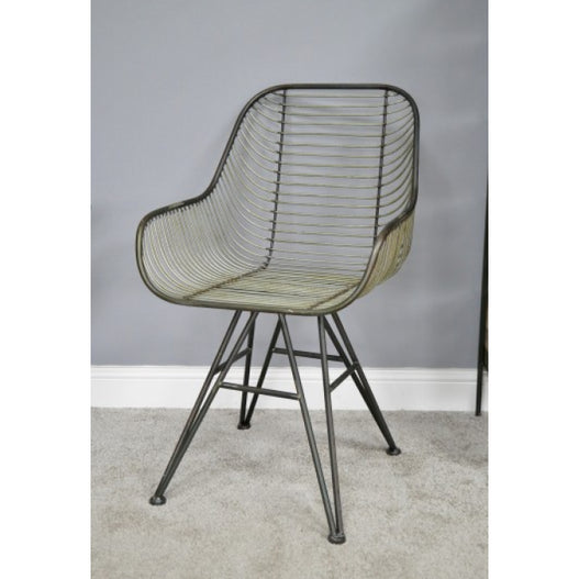 Hoxton Metal Industrial Retro 'Open Wirework' Style Armchair - CLEARANCE