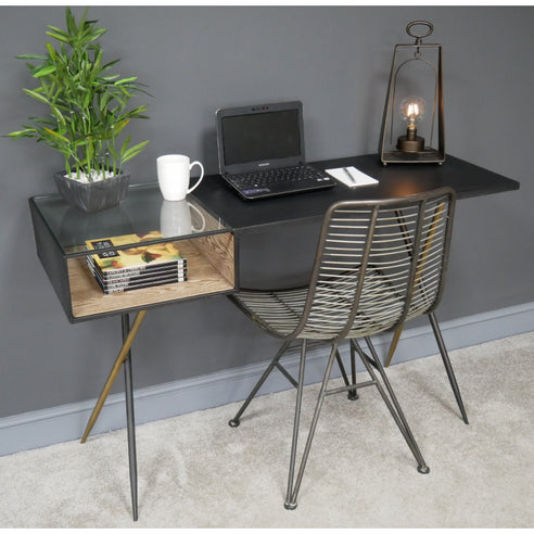 Hoxton Industrial Vintage Distressed Metal Computer Desk and Chair Set (125 x 43 x 78cm)