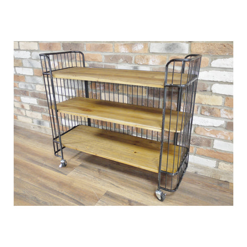 Hoxton Metal and Wood Industrial Style Wheeled Shelf Unit (97 x 32 x 84cm)