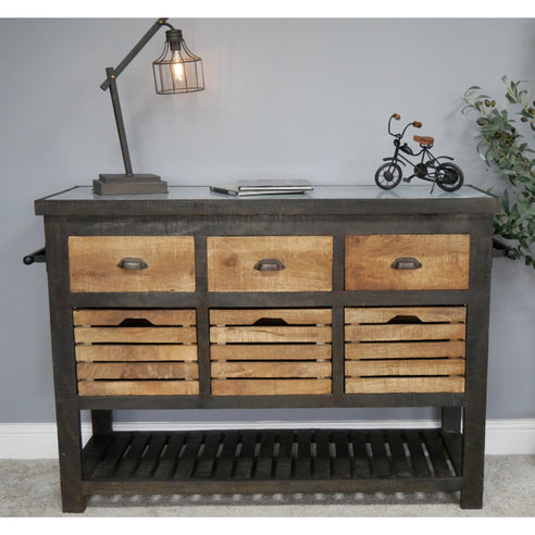 Hoxton Iron and Wood Industrial Sideboard Dresser Unit (130 x 42 x 87cm)