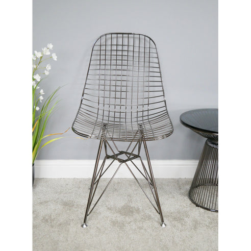 Electra Retro Steel Dining Chair Set of 4 - Chromed Black (46 x 51 x 87cm)