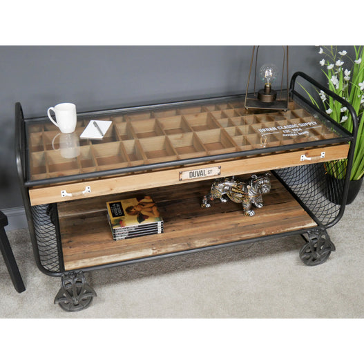 Retro Industrial Metal and Wood Wheeled Collectors Coffee Table (126 x 62 x 70cm)