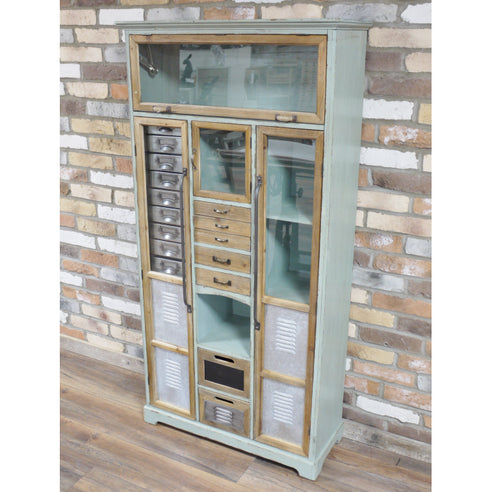 Brixton Metal and Wood Industrial Display Cabinet (81 x 32 x 161cm)