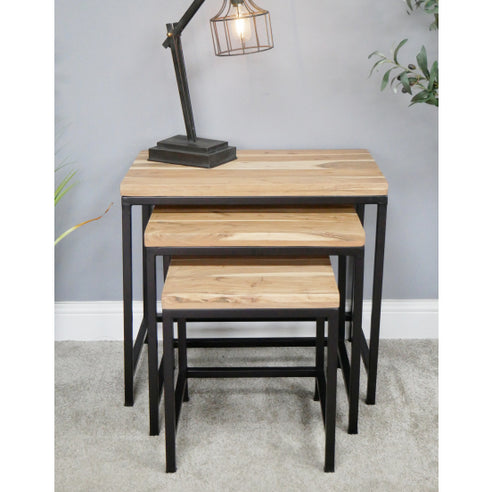 Hoxton Living Acacia Wood Side Table Nest in Natural Finish