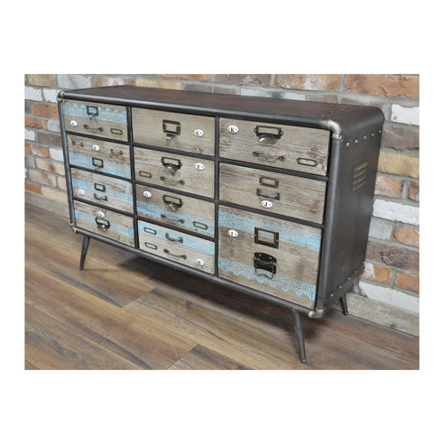 Retro Industrial 50's Style Metal/Wood Chest of Drawers (110 x 35 x 73cm)
