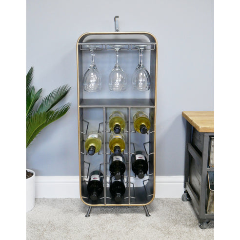 Retro Industrial 50's Style Metal/Wood Wine Cabinet (34 x 23 x 84cm)