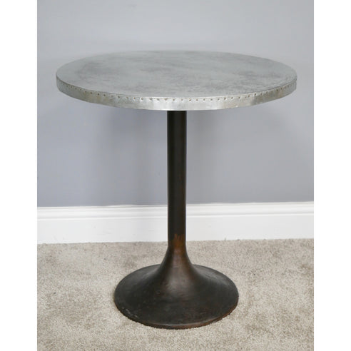 Hoxton Industrial Adjustable Iron and Metal Large Round Side Table (55 x 55 x 59cm)