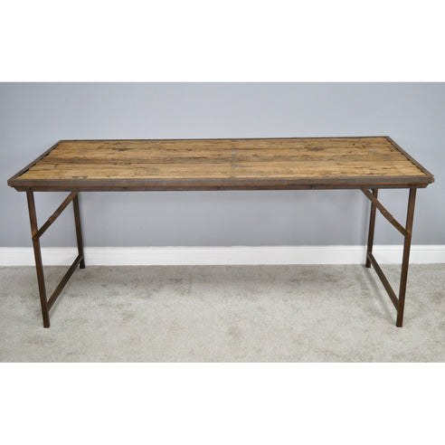Hoxton Metal and Wood Industrial Rustic Folding Dining Table (185 x 77 x 79cm)