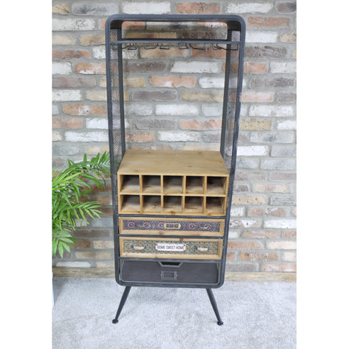 Brixton Metal and Wood Industrial Drinks Display Cabinet (57 x 38 x 155cm)