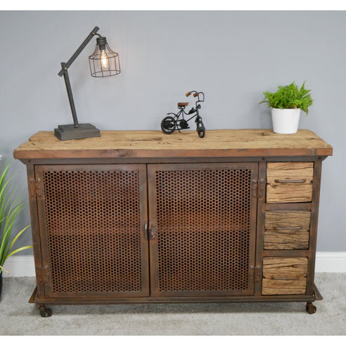 Hoxton Metal and Wood Industrial Rustic Sideboard (133 x 44 x 81cm)