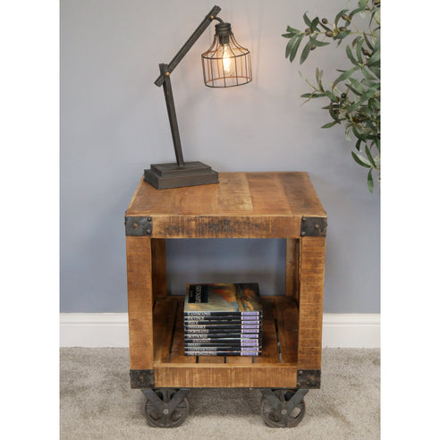 Hoxton Industrial Shelved Wheeled Side Table (50 x 50cm x 60cm)