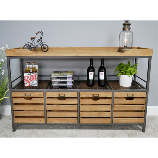 Brixton Metal and Wood Industrial Grocer Style Sideboard (130 x 40 x 81cm)