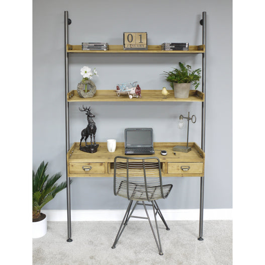 Retro Industrial Wood /Metal Computer Desk with Shelving Unit (123 x 200 x 45cm)