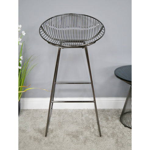 Electra Retro Steel Bar Stool - Chromed Black (50 x 47 x 91cm)