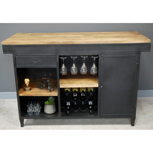Brixton Metal and Wood Industrial Art Deco Island Drinks / Wine Bar (162 x 66 x 107cm)