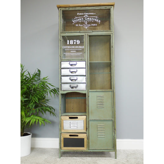 Brixton Metal and Wood Industrial Display Cabinet (60 x 34 x 157cm)