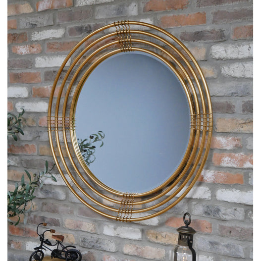 Antique Gold Art Deco Metal Wall Mirror (91 x 8 x 91cm)