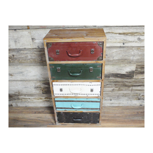 Multi Colour Metal and Wood Retro Luggage Chest of Drawers - New Orleans (55 x 34 x 108cm)