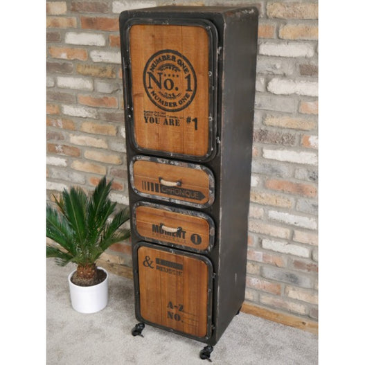 Brixton Metal and Wood Industrial Cabinet (42 x 40 x 148cm)