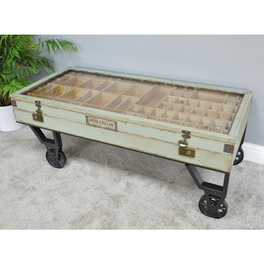 Hoxton Metal and Wood Wheeled Collectors Coffee Table (122 x 55 x 46cm)