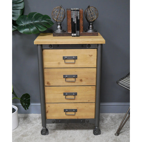 Brixton Metal and Wood Industrial Wheeled Tallboy Chest (50 x 42 x 82cm)