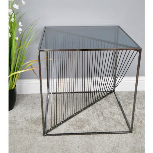 Electra Retro Steel Side Table - Chromed Black (52 x 52 x 53cm)