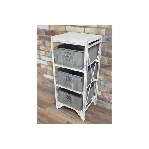 Loft Style Industrial Distressed Metal Storage Drawer Unit (35 x 40 x 90cm)