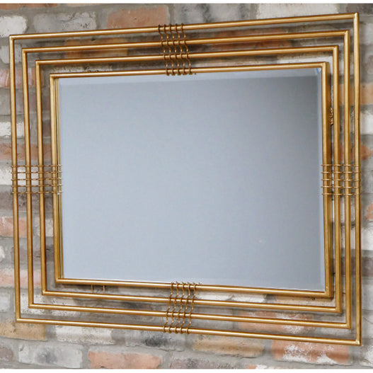 Antique Gold Art Deco Metal Rectangular Mirror (115 x 11 x 84cm)